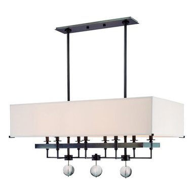 Gresham Park Chandelier by Hudson Valley Lighting - Gresham Park 8 light chandelier feautres an off white faux silk shade. Finish available in old bronze and polished nickel. Available in wall sconce, suspension and chandelier versions. Includes extension rods: one 3, 6 and 12 inch stem and two 18 inch stems. Eight 60 watt, 120 volt, B10 candelabra incandescent lamps not included. General light distribution. cUL listed. Canopy is 21W x 5L. Overall height is 75.5 inches. 38W x 18.25H x 19L,