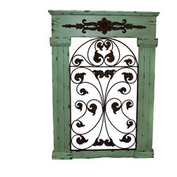 Casa Cortes - Casa Cortes Secret Garden Seafoam Green Antiqued Metal/ Wood Wall Art - Give your home a vintage garden accent with this charming,ready-to-hang wall art. Finished in a rustic seafoam green,this wooden Secret Garden piece features intricate metal leaf scrolling for a decorative effect.