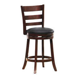 Homelegance - Homelegance Edmond Swivel Counter Height Chair in Cherry (Set of 2) - Homelegance - Bar Stools - 1144E24S - Expanding the seating availability in your entertainment or dining space has become much less complicated with the Edmond Collection. Offered in a dark cherry finish with black bi-cast seats, the varied designs of the chair backs allow for placement in a multitude of design settings. From casual to formal, the 24 and 29 barstools offer the best selection out there.