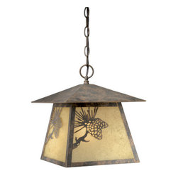 Vaxcel Lighting - Vaxcel Lighting OD50546 Whitebark 1 Light Square Outdoor Pendant - Product Features: