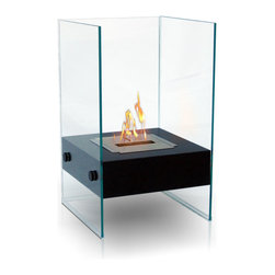 Anywhere Fireplace - Hudson Indoor/Outdoor Fireplace - The unique and stylish Hudson model Anywhere Fireplace will add elegance andsophistication to your space, indoors or outdoors. Not small, yet not big,but don't be mistaken, it will addlarge impact to any space. Its flames will dance between to glass on 3 sides while it warms up your room and atmosphere.Place iton the floor, a table top, on a standor wherever you canadmire its beautiful real flames.The bodyis made with an outdoor grade powder coating so you can also use it outdoors as well as indoorsand the outdoor elements will not affect its satin black finish. You will not want to leave the burner outdoors however, because you don't want water to get into it. USES Bio-ethanal LIQUID FUEL for fireplaces.