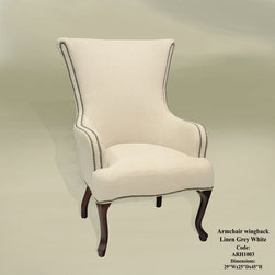 Wingback Armchair, Linen, Grey/White - The nailhead trim really brings out the white in this chair.