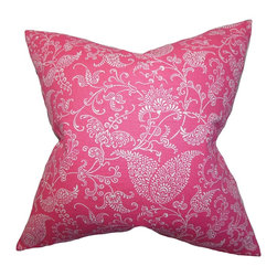 "The Pillow Collection - Aderyn Paisley Pillow White Pink 18"" x 18"" - The classic floral print featured in this accent pillow has been reworked to a more modern look. With a bold candy pink and white color palette, this square pillow is a trendy statement piece. Add this decor pillow in your living room, bedroom or lounge area for texture and comfort. Crafted with 100% soft cotton material. Made in the USA. Hidden zipper closure for easy cover removal.  Knife edge finish on all four sides.  Reversible pillow with the same fabric on the back side.  Spot cleaning suggested."