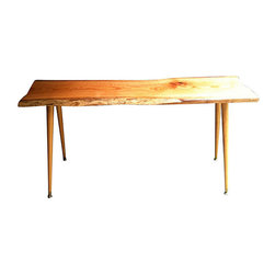 Marzipan Mummy - Mod Console Table - Mod Nakashima style console table featuring reclaimed red oak with sensual wood grain. Vintage tapered legs. Treated with tung oil, glossy finish. Bring the outdoors in.