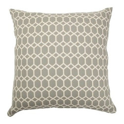 """The Pillow Collection - Packard Diamonds Pillow Flint - Create a clean and smart home design with this contemporary diamond pattern throw pillow. This accent pillow features a two-tone geometric print in shades of flint: white and gray. This 18"""" pillow can be incorporated with a wide range of pillow designs. The square pillow is made from 100% soft cotton fabric. Hidden zipper closure for easy cover removal.  Knife edge finish on all four sides.  Reversible pillow with the same fabric on the back side.  Spot cleaning suggested."""