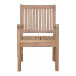 Anderson Outdoor Furniture - Chester Dining Armchair - Dinner time, snack time or just time to sit back and enjoy the day, this is the all-weather solid-teak armchair you've been looking for. The gently curving armrests add comfort, style and sophistication to an already classic piece.