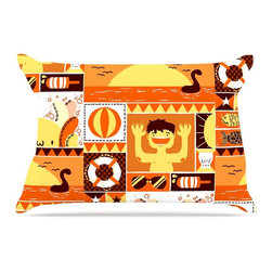 "Kess InHouse - Tobe Fonseca ""Summer"" Orange Seasonal Pillow Case, King, 36""x20"" - This pillowcase, is just as bunny soft as the Kess InHouse duvet. It's made of microfiber velvety fleece. This machine washable fleece pillow case is the perfect accent to any duvet. Be your Bed's Curator."