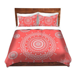 DiaNoche Designs - Duvet Cover Twill - Infinity Coral - Lightweight and soft brushed twill Duvet Cover sizes Twin, Queen, King.  SHAMS NOT INCLUDED.  This duvet is designed to wash upon arrival for maximum softness.   Each duvet starts by looming the fabric and cutting to the size ordered.  The Image is printed and your Duvet Cover is meticulously sewn together with ties in each corner and a concealed zip closure.  All in the USA!!  Poly top with a Cotton Poly underside.  Dye Sublimation printing permanently adheres the ink to the material for long life and durability. Printed top, cream colored bottom, Machine Washable, Product may vary slightly from image.