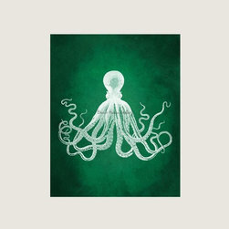 Octopus - The classic vintage octopus illustration takes a twist in a rich emerald green background.