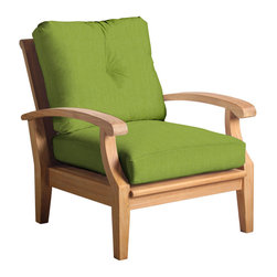 Douglas Nance - Set of 2, Douglas Nance Cayman Deep Seating Club Chairs, Parrot - Douglas Nance Cayman has a distinctive casual flair with sumptuous cushions for premium relaxation. The cuts of teak are thick and solid yet the design curves offer a light, island feel. This collection also offers a loveseat and dining options. Includes made-to-order Sunbrella cushion.