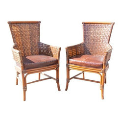 "Palecek Woven Leather Back & Rattan Chairs- A Pair - This Palecek pair would go great as accent chairs in the living room or dining room. The perfect harmony of rustic and modern. And the colors mix well with anything!!! Seat measures 19""H.rn"