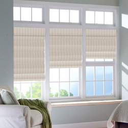 Boutique Pleat Roman Shade - With a sophisticated and stylized look, our pleated Roman shade can add a layer of dimension to your windows. This beautiful pleat has doweled pockets on the back that help form elegant seams and keep your shades looking sharp when they are raised. Pleats add depth and breadth to a shade and the included high quality liner will keep your shade protected and looking gorgeous from all angles. The shade also comes with a cordless lift system, allowing for simple raising and lowering while removing the risk of any external cords.