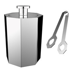 Nick Munro - Octagon Ice Bucket & Tongs - Nick Munro - Part of the new Octagon Line for 2012, this ultra modern Ice Bucket with Tongs with it's distinct angular design is complimented by its flawless mirror finish. Inspired by Art Deco barware. Fun yet practical, a great finish for any table. Dishwasher safe.