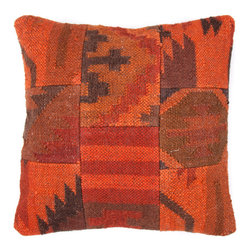 Jaipur Rugs - Orange Bedouin Thai Pillows Set of 2 - For those of you with a bit of an addiction to vintage rugs, this pillow, inspired by antique kilims, provides the same rich look for a much better price. And pillows are far easier to incorporate into a room than yet another rug, right?