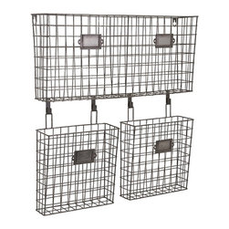 IMAX - Arturi Wall Organizer - Get wired, and get organized with a clutter-busting set of wire-framed hanging baskets complete with metal plaques for labels.