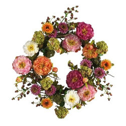 Nearly Natural - 24 Inch Mixed Peony Wreath - Looking for the perfect focal point to spruce up your front door or entryway? At 24 inches round, this lush peony wreath demands attention. A mixture of bright and cream colored Pastels, this elegant creation brings flair to any space it graces. Rich foliage surrounded by authentic crafted stems and a sprinkle of berries add further compliment to this masterpiece of nature.