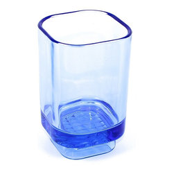 Gedy - Transparent Light Blue Free Standing Tumbler, Transparent Light Blue - A high-end option, this tumbler will also help keep soap handy. Contemporary in design, this this toothbrush holder is made in transparent glass and finished in light blue. Made in Italy by Gedy.