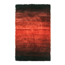 Noble House - Noble House Jewel Collection Rug in Black / Rust - 4x6 - Developed in the rainbow effect in prevailing trendy color hues, this collection compliments the modern interior d??cor. Furry feel polyester yarn used to articulate these rugs.