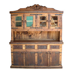 Mexican Artisans - Rustic Kitchen Hutch - Indeed Decor's rustic Kitchen Hutch will be an extraordinary addition to any style kitchen or dining room.  This Rustic Kitchen Hutch is large enough to store all of your entertaining essentials and measures 72″W x 84″H x 22″D.