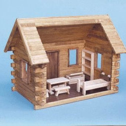Crockett's Log Cabin - Want a pioneer-influenced log cabin dollhouse? Crockett's log cabin is simple but still offers kids plenty of room for imaginative play. The kit includes everything as shown and is made of quality workmanship.