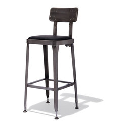 Industry West - Octane Bar Stool - For taking a seat at the soda fountain, your local speak-easy, or for your own retro-glam kitchen: The Octane Collection comes in a shiny gunmetal finish with a soft-upholstered leather seat...after all, opposites attract.
