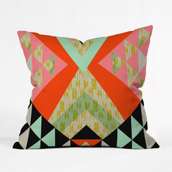 Tribal Quilt Throw Pillow Cover - A delightful mish-mash of color and pattern makes this pillow cover a design hit on your bed or sofa. Bold, angular tribal designs layer over a delicate arrow pattern in an eclectic array of colors that gives you plenty of space to tie the room together.