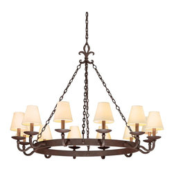 Troy Lighting - Troy Lighting F2716 Burnt Sienna Lyon 12 Light Chandelier with Fabric Shades - With the look and feel of a manor house classic, the Lyon 12 Light Chandelier is a singular effect piece for any living or dining space. Hand-worked wrought iron framing effortlessly integrates timeless subtleties such as a fleur-de-lis hanger and burnt sienna finish. Finished with twelve individual custom diffusers for great light and a timeless look, this chandelier is a wonderful addition to any rustic inspired dcor.