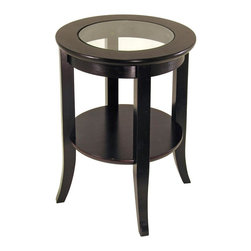 Winsome Wood - Glass Top End Table, Espresso Finish - Alluring and sophisticated, the Genoa end table is in a versatile circular shape which easily sits next to any chair or sofa. The clear glass top brings a sense of balance, creating a light-friendly piece that complements its appealing espresso finish. This contemporary styled glass top end table displays a rich Espresso wood finish. The round top features a clear glass insert and a lower shelf provides display space. Side tables are the finishing touches to any sofa grouping. * Espresso Finish. 18.47in. x 18.47 in. x 22.56 in. H