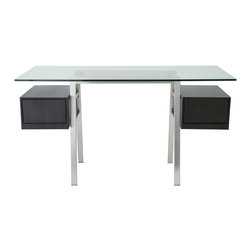 Eurostyle - Euro Style Collette Collection Desk Frame in Brushed Stainless Steel - Desk Frame in Brushed Stainless Steel in the Collette Collection by Eurostyle