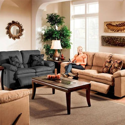 Catnapper - Impulse 124 Two Pc Reclining Living Room Set - Includes sofa, chair and perfectly correlated designer pillows. Loveseat, coffee table and 2 end tables not included. Fashionable and comfortable pillow pad seat. Distinctive contrast baseball stitching. Unitized steel base. 100% Steel seat box. No warping or splitting in this critical area (standard on most models). Reclining Mechanism:. Installed with noiseless sure-lock spring clips. Strongest recliner seat box available. Direct drive cross bar ensures that both sides of the mechanism operate together, in sequence, for longer life. Heavy 8-gauge sinuous steel springs in the seat provide strength, comfort and flexibility. Made of 78% polyester and 22% acrylic. Cleaning Method:. Clean only with water-based shampoo or foam upholstery cleaner. Do not over wet. Do not use solvent. Do not saturate with liquid. Pile fabrics may require brushing to restore appearance. Cushion covers should not be removed and laundered. No assembly required. Limited lifetime warranty. Sofa: 84 in. L x 39 in. W x 40 in. H (245 lbs.). Chair: 37 in. L x 40 in. W x 41 in. H (90 lbs.)