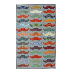 Mohawk Home - Playful Moustache Light Multi Novelty 5' x 8' Mohawk Rug (11925) - Spot on with vivid color and bold patterns, with a whimiscal moustache design this rug is funky and trendy.Action Backing