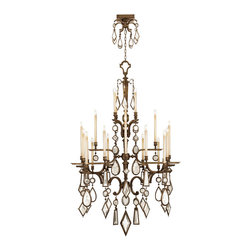Fine Art Lamps - Fine Art Lamps 709440-3ST Encased Gems Bronze Clear Crystal 24 Light Chandelier - 24 Bulbs, Bulb Type: 60 Watt Candelabra; Weight: 116lbs