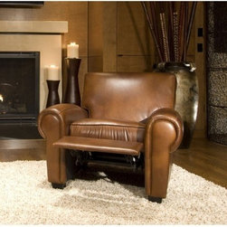 Elements Fine Home Furnishings - Taylor Top Grain Leather Reclining Chair in Rus - Taylor collection Recliner Chair