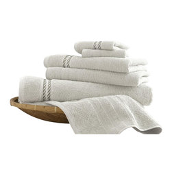 Spa Collection Egyptian Cotton Embroidered Rope 6-piece Towel Set   White - Indulge yourself in spa like luxury with this luxurious six-piece towel set. The set is made of Egyptian cotton known for its softness, absorbency, and durability. These towels make an ideal complement to any bathroom whether you use it to pamper yourself or reserve it for special guests. Egyptian cotton fibers are valued for their superior length and strength, which also reduces the buildup of pile and lint. These towels will feel cozy and comfortable against your skin every time you use them. Additionally the towels get softer with washing and drying.