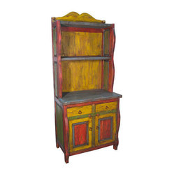 Mexican Artisans - Painted Cupboard - There's a delightful storybook quality to this cupboard ...