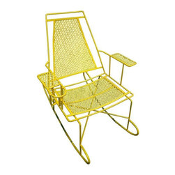 Pre-owned Vintage Metal Outdoor Rocking Chair - This chair is a rockstar! A vintage 50s Mid-Century metal outdoor rocking chair to add a pop of color and character to your patio, porch or deck.