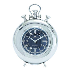 Woodland Imports - Nickel Plated Table Clock Roman Numerals Old Fashioned Office Decor 27856 - Classic style nickel plated table clock with roman numerals and old fashioned design details home office decor