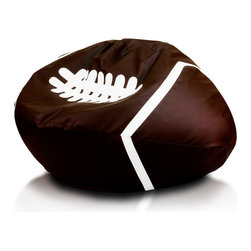 Turbo BeanBags - Beanbag Football, Dark Brown And White, Filled Bag - The Football Beanbag is one of the newest products from Turbo BeanBags. Because of its size it's a comfortable chair to sit for a child or make a great addition to a children's room decor. An amazing gift for kids by its innovative design.