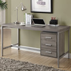 Monarch - Dark Taupe Reclaimed-Look/Silver Metal 60in.L Office Desk - Create an industrial yet simple style to your home with this 3 drawer dark taupe reclaimed wood-look hollow-core desk. A beautiful silver metal frame supports this thick topped work station with generous drawer storage.