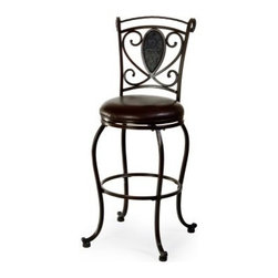 Hillsdale Scarton Swivel Bar Stool - Dark Chocolate - A floral-themed teardrop back and surrounding scrollwork give the Hillsdale Scarton Swivel Bar Stool – Dark Chocolate a whimsical romantic appeal that translates easily to any decor. Its sinuous legs and scrollwork are anchored by a richly detailed teardrop accent, and complemented by contemporary seating conveniences including a full-swivel seat, foot base supports, and a sturdy leg stretcher.What's included: Bar stoolAbout Hillsdale FurnitureLocated in Louisville, Ky., Hillsdale Furniture is a leader in top-quality, affordable bedroom furniture. Since 1994, Hillsdale has combined the talents of nationally recognized designers and globally accredited factories to bring you furniture styling and design from around the globe. Hillsdale combines the best in finishes, materials, and designs to bring both beauty and value with every piece. The combination of top-quality metal, wood, stone, and leather has given Hillsdale the reputation for leading-edge styling and concepts.Warranty:This product includes a one-year manufacturer's warranty.