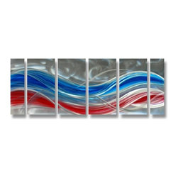 Pure Art - Americana in Motion Handpainted Aluminum Wall Hanging Set of 6 - Splendid beauty and character! Bring amazing style to any room of your home  with the Americana in Motion Handpainted Aluminum Wall Hanging Set of 6. This set of metal wall art pieces have each been hand painted in colors of silver, blue and red forming elegant swirls and lines creating an appealing design. This set of metal wall hangings is perfect for filling the space on large walls when a room needs a bit of symmetry added to it. These pieces were hand crafted by expert craftsman using the finest materials available. This makes each panel in the set of 6 unique and individualizedMade with top grade aluminum material and handcrafted with the use of special colors, it is a very appealing piece that sticks out with its genuine glow. Easy to hang and clean.