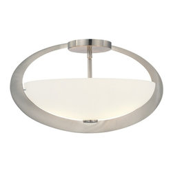 George Kovacs - Earring 2-Light Oval Semi Flushmount Light - Looking for an elliptical that will add a little definition to your bathroom or kitchen? This particular light uses an ellipse of brushed steel with frosted glass to illuminate clearly but softly, making everybody look good.  See? Your room is shaping nicely.