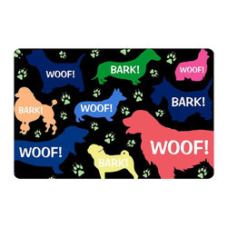Bungalow Flooring - Woof! Cushion Mat - Made to order. Graphic mat adds comfort and style. Machine washable. For indoor use. 18 in. L x 27 in. W x 0.3 in. H