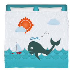 """Eco Friendly Made In USA """"Whale Watching"""" King Comforter - King Size Kids Beach Comforter From Our Surfer Bedding Seaside Bed and Bath Collection."""