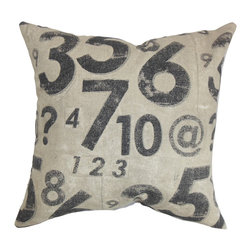 The Pillow Collection - Fred Typography Pillow Graphite - Create a relaxing atmosphere in your home by throwing this decor pillow in your bed, couch or sofa. This accent piece features a simple design with a blue-hued numeric pattern. The casual design of this throw pillow is perfect for your living room or bedroom. Pair this square pillow with a matching pattern or contrasting solids. Made from 100% soft cotton, which provides utmost comfort. Hidden zipper closure for easy cover removal.  Knife edge finish on all four sides.  Reversible pillow with the same fabric on the back side.  Spot cleaning suggested.