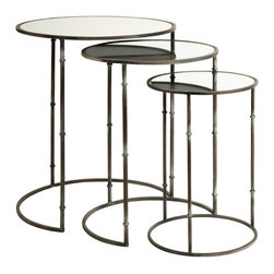 Grandfather's Spectacles Nesting Tables-Set of 3 - Great for indoors and outdoors, these layered mirror-topped nesting tables add multiple surfaces for quick transitional décor to any room. This set of three Grandfather's Spectacles nesting tables have simplified tri-leg bases and definitely are a sight in any room.