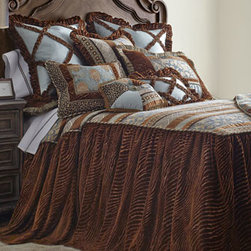 Dian Austin Couture Home - Dian Austin Couture Home King Skirted Coverlet - Brown and teal bed linens convey the personality of the Soho area with an artistic collage of chenille and velvet textures. Made in the USA by Dian Austin Couture Home®. Dry clean. Top of skirted coverlet, framed with tri-color cording, features m...