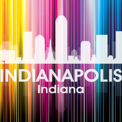 Indianapolis Vertical Lined Rainbow Print - Best known for the Indy 500, this city was ranked by Forbes magazine as having one of the best downtowns in the United States. Show off a little city pride with the digital and photographic layers on this mixed-media art that shines bright in a rainbow of color.