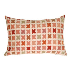 Pillow Decor - Pillow Decor - Cherry Cross on Sand Rectangular Decorative Pillow - The Cherry Cross on Sand 16 x 24 Throw pillow features rows of crosses in warm shades of sage green, burnt orange, red and rose on a cream background. The richer colored crosses are in a soft chenille, giving this pillow texture and depth. With a flair of contemporary country charm, this throw pillow would be ideal in a family room, bedroom window seat, kitchen nook or cottage.