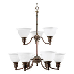 Progress Lighting - Progress Lighting P4283-20 9-Light Chandelier With Etched Glass Bell Shaped Shad - Nine-light two-tier reversible chandelier